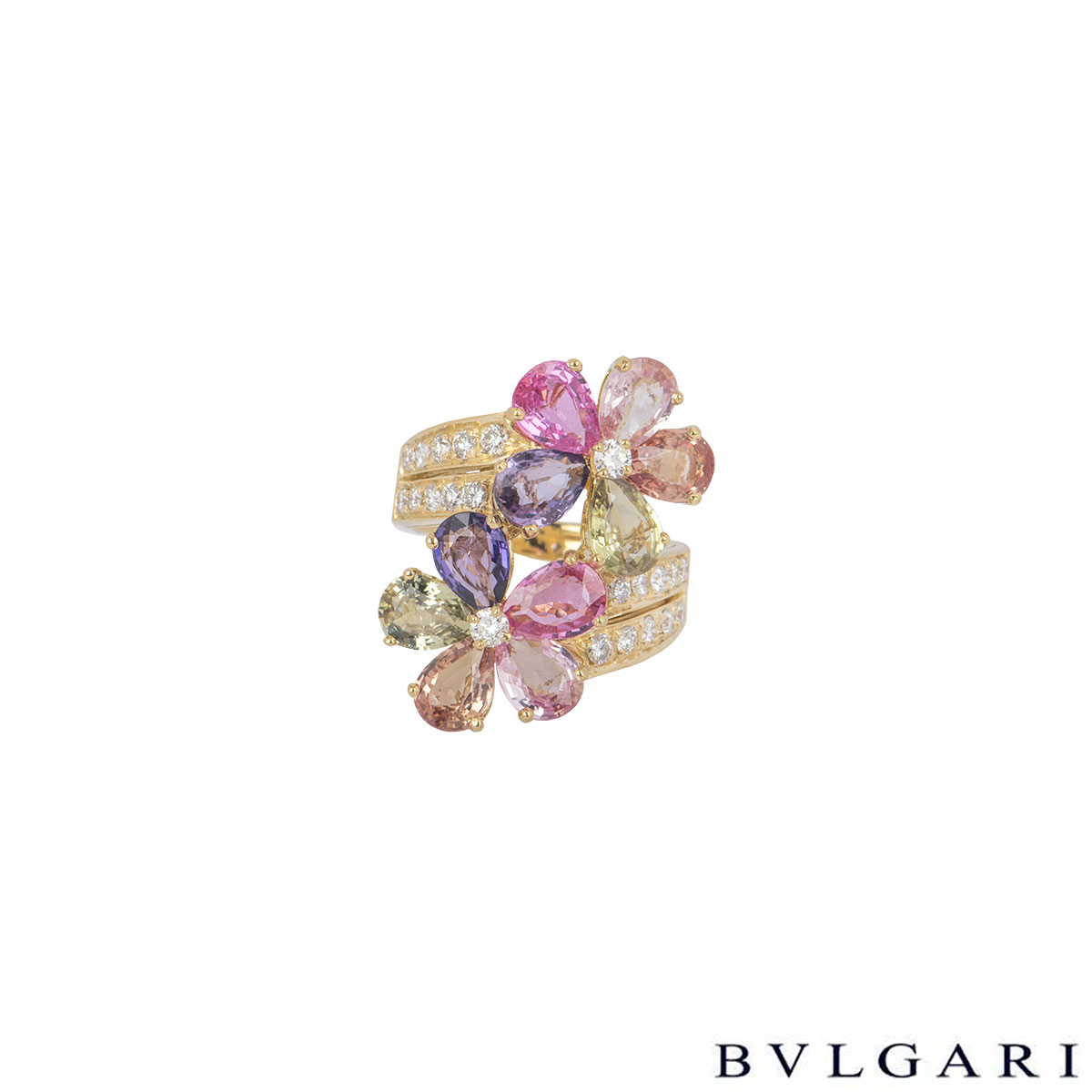 Bvlgari Yellow Gold Diamond Sapphire Flower Ring AN853207